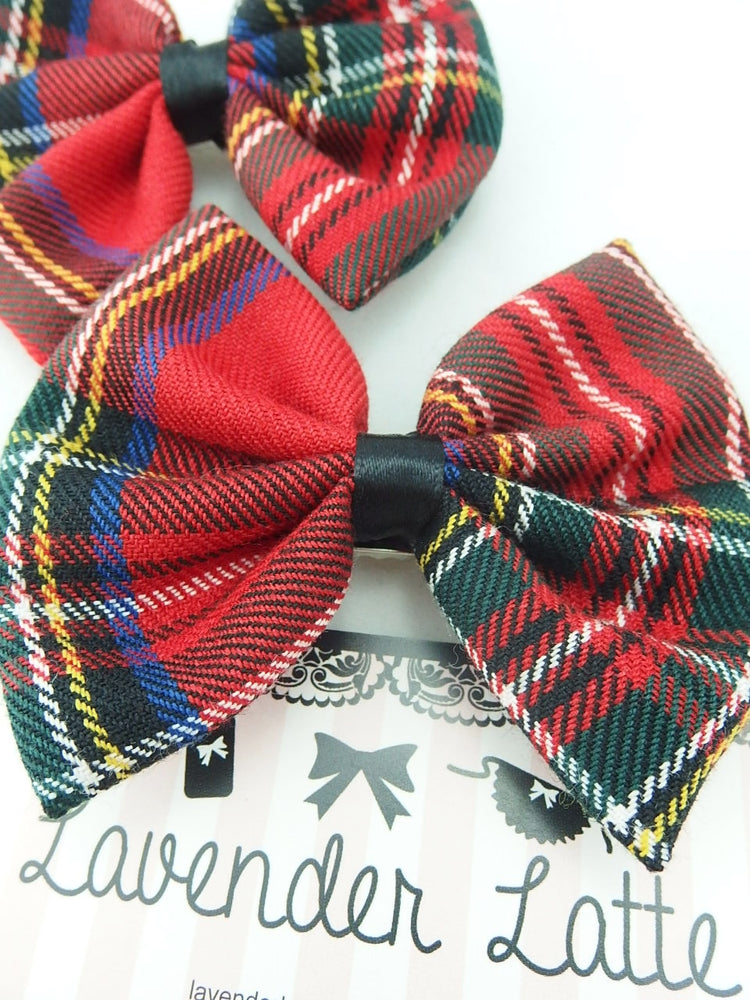 Red Tartan Scottish Fabric Medium Hair Bow