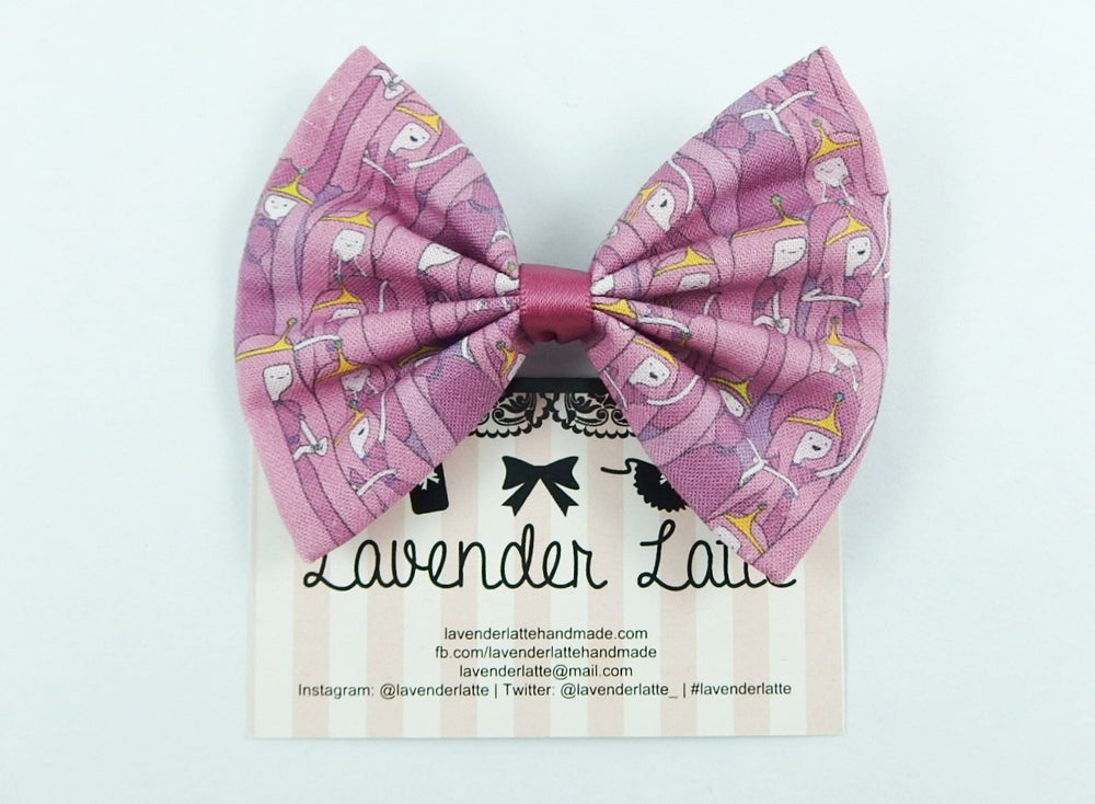 CLEARANCE! Princess Bubblegum Fabric Hair Bow -- Pink Handmade Hair Clip