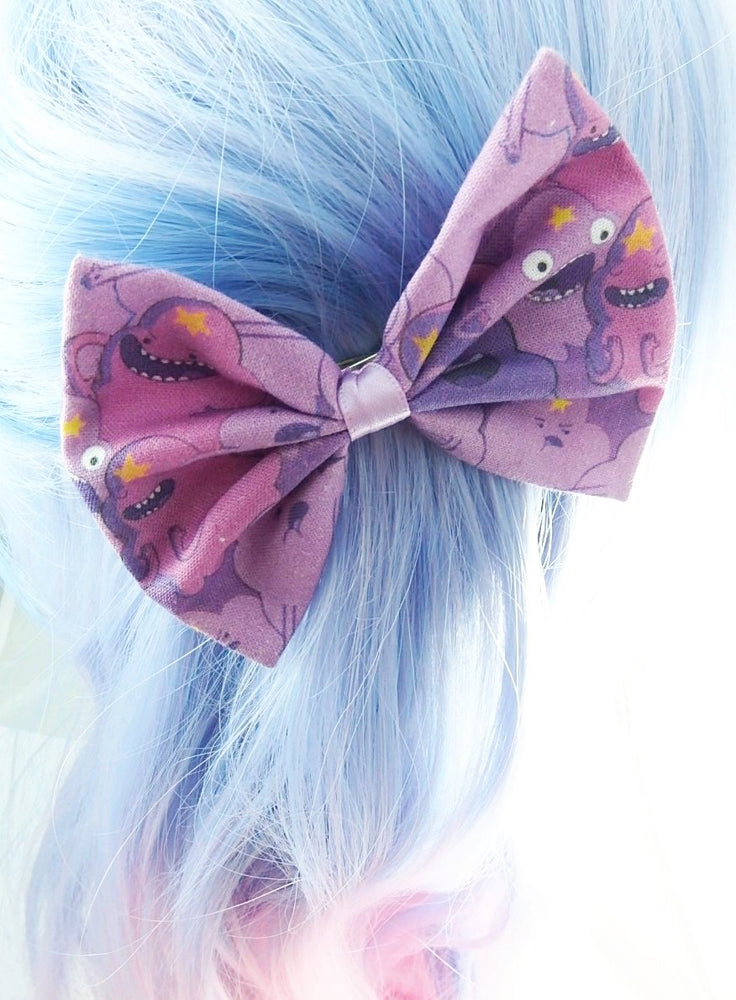 CLEARANCE! Lumpy Space Princess Fabric Medium Hair Bow -- Purple LSP Handmade Hair Clip