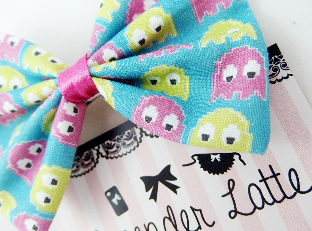 CLEARANCE! Pacman Purple and Green Ghosts Fabric Hair Bow