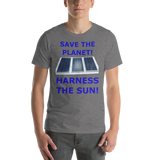 Bella and Canvas Short-Sleeve Unisex T-Shirt: harness the sun blue text