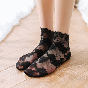 Lace Flower Women Lace Cotton Ankle Invisible Socks - chicstocking