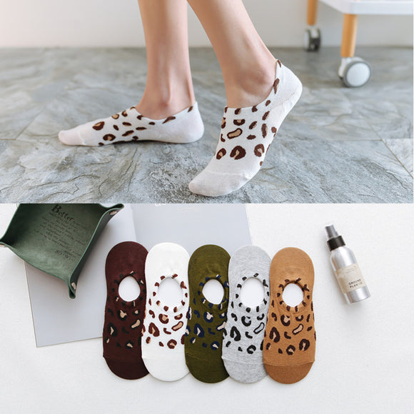 Leopard Cotton Ankle Invisible Socks - chicstocking