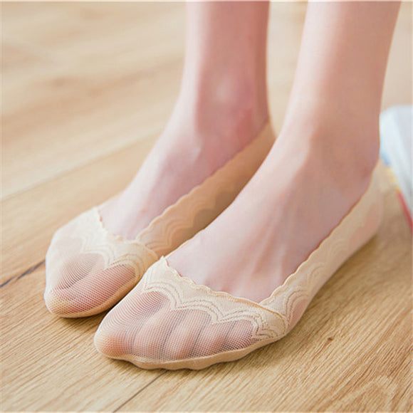 Women Lace Cotton Ankle Invisible Socks - chicstocking