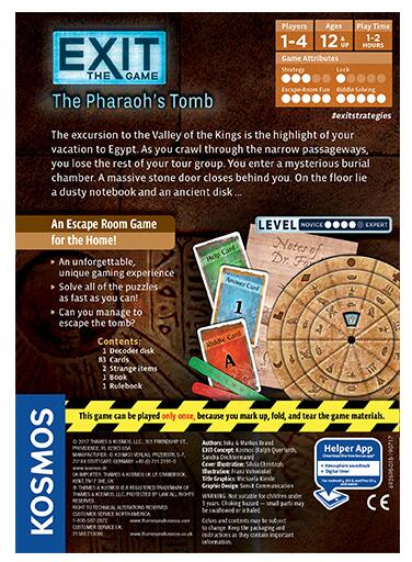 Exit the Game the Pharaoh's Tomb - Board Games Master Australia | KIds | Familiy | Adults | Party | Online | Strategy Games | New Release