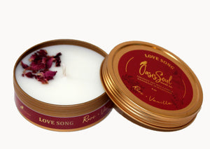 LOVE SONG - Gold Tin Candle {rose + vanilla}