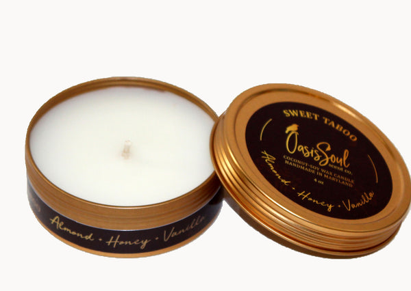SWEET TABOO - Gold Tin Candle {almond + honey + vanilla}