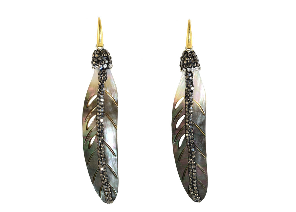 Grey MOP shell feathers with stones