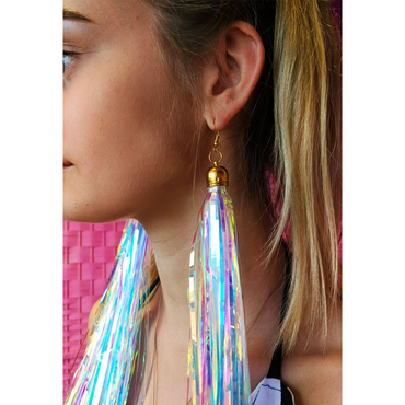 Prismatic Earrings Shoulder Length bottle blonde fun festival summer holiday tinsel