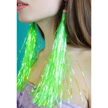 Neon Green Shoulder Length Prismatic Earrings bottle blonde fun festival summer holiday