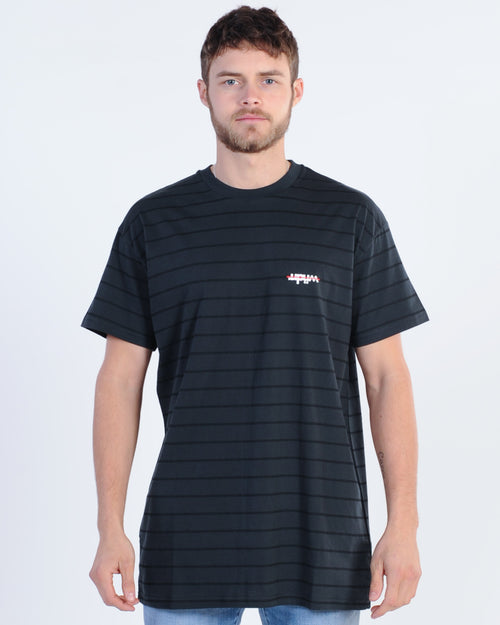 Wndrr Fringe Stripe Custom Fit Tee - Black/Black