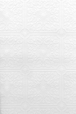 Nico Paintable Tile Wallpaper-baroque style and all over textured pattern in white