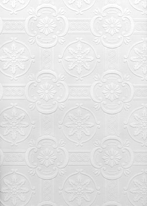 Westerberg Paintable Ornate Tiles Wallpaper-SKU#2780-99422 baroque tile design is textured and in white