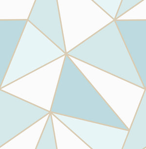 Apex Blue Geometric Wallpaper-blue and white geometric print is framed by shimmering gold accents.