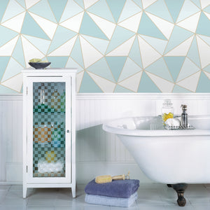Apex Blue Geometric Wallpaper-blue and white geometric print is framed by shimmering gold accents. hung in bathroom