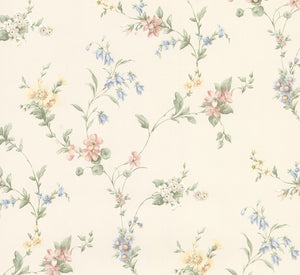 Marcus Multicolor Floral Trail Wallpaper-Light blue, peach and yellow garden flowers blossom from leafy stems in this sweet design with a cream background.