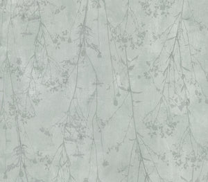 Tanner Sage Floral Silhouette Wallpaper-Tiny flowers blossom from delicate twigs, while a sage plaster inspired background adds a dimensional touch.