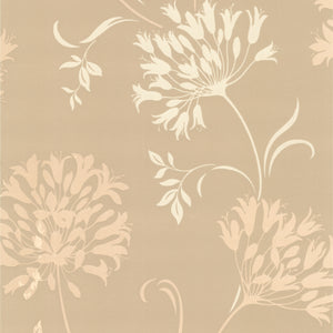 Nerida Taupe Floral Silhouette Wallpaper-this modern wallpaper transposes a chic floral silhouette onto your walls with very deluxe texture effects and an alluring taupe palette.