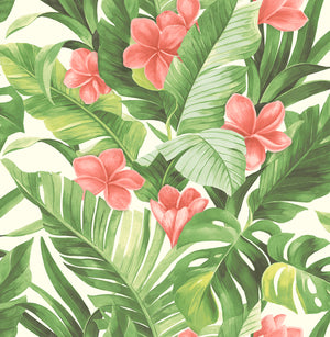 Tropical Paradise Peel & Stick Wallpaper-Coral flowers bloom among banana and palm leaves
