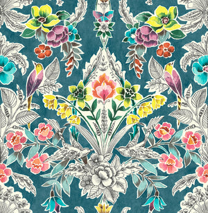 Summer Love Teal Peel & Stick Wallpaper-botanical damasks comprised of yellow birds, coral flowers, and green roses pop against a rich teal background.