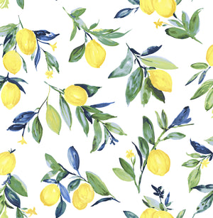Lemon Drop Yellow Peel & Stick Wallpaper-yellow lemons with blue and green leaves and watercolor design.