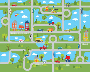 Road Map Mural-With curvy roads, trucks, cars, bright blue lakes and charming homes this mural creates a charming town.