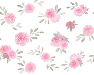 Rosie Mural-Pink roses with grey leaves on a white background.