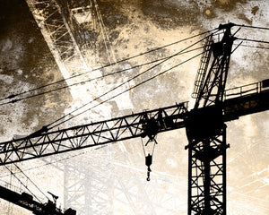 Under Construction Wall Mural-A distressed texture is overlaid onto a construction crane silhouette.