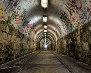 Graffiti Tunnel Wall Mural-The graffiti and underground passage lead to light at the end of the tunnel.