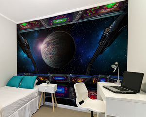 Wall Rogues Space Ship Wall Mural-SKU#WR50598-Glowing screens and buttons help you navigate the galaxy and the looming planet ahead. hung in bedroom