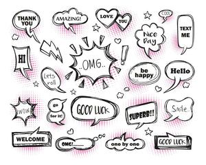 Pink Speech Bubbles Wall Mural-hot pink and black and white speech bubbles.