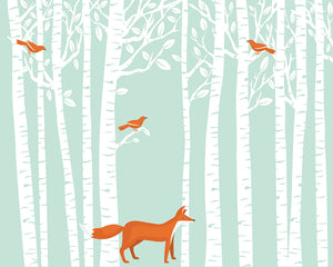 Woodland Wall Mural-Bright orange birds nestle among white trees while a fox poses quietly below.