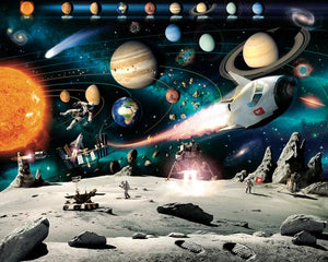 Space Adventure Wall Mural-SKU#WT41837-moon's surface, planets and names of planets.