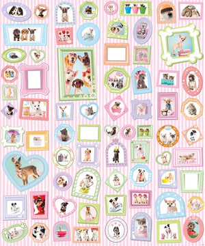 Studio Pets Wall Mural-SKU#WT42124-lovable pets including dogs, cats, little chicks and bunnies . All outlined in colorful detail with blank frames to attach your own photos, on a pink and white striped background.