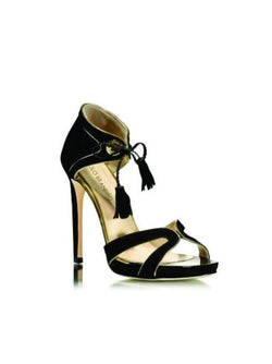 Black Leather And Suede High Heel Sandal - Womens Shoes