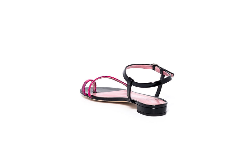 Black Patent and Cobra Rosa Flat Sandal