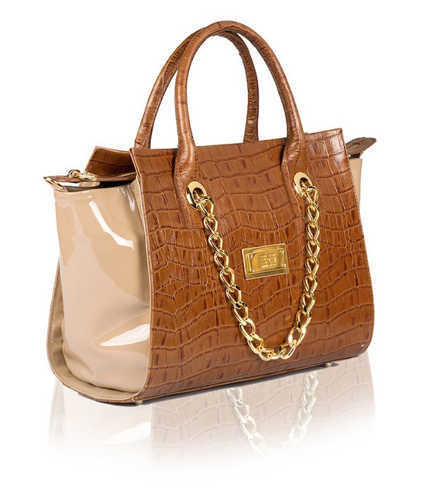 Camel Croco Handbag - Womens Handbags