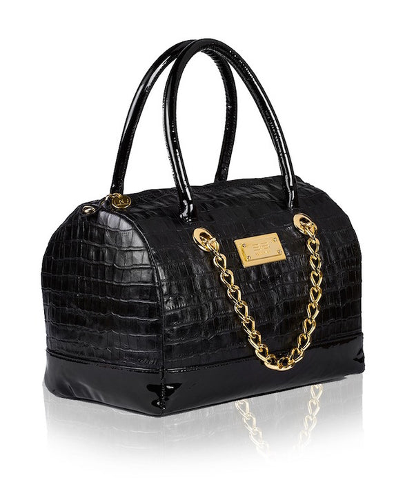 Croco Black Patent Handbag - Womens Handbags