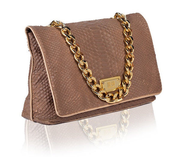 Capre Madrid Dark Beige And Beige Patent Handbag - Womens Handbags