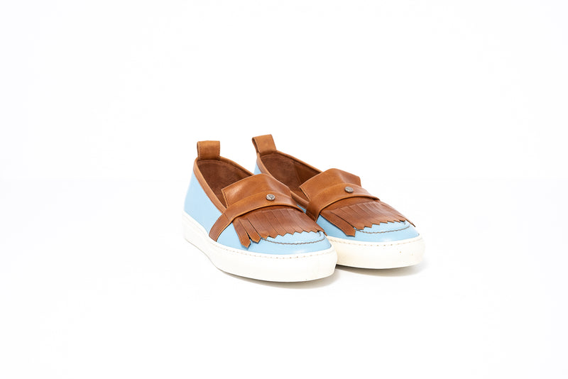 Pastel Blue and Tan Loafer