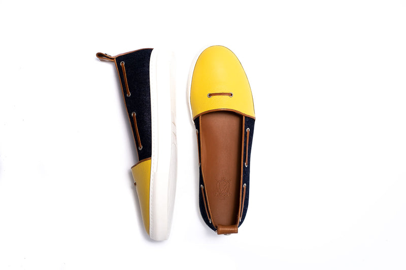 Yellow and Blue Demin Loafer