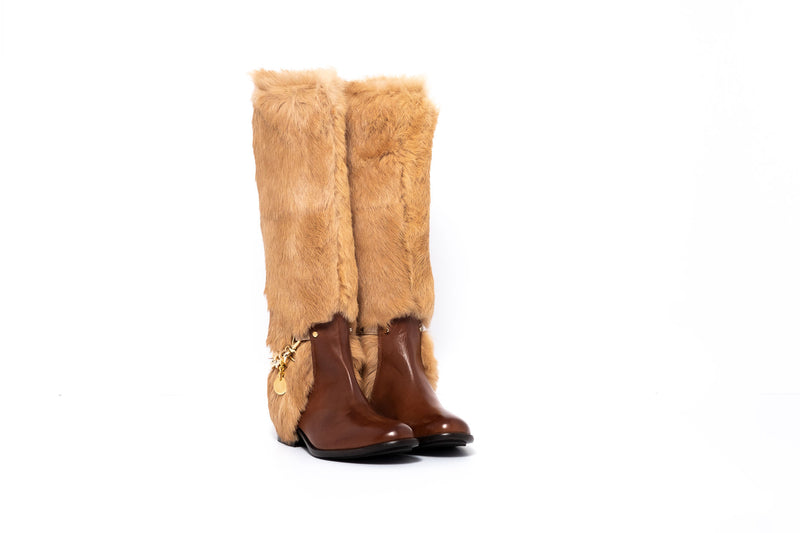 Brown Leather and Camel Flat Boot