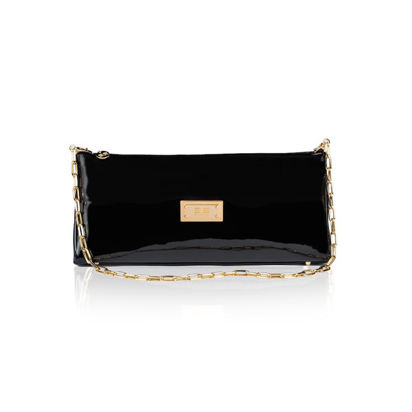 Black Patent And Gold Strap Handbag - Womens Handbags