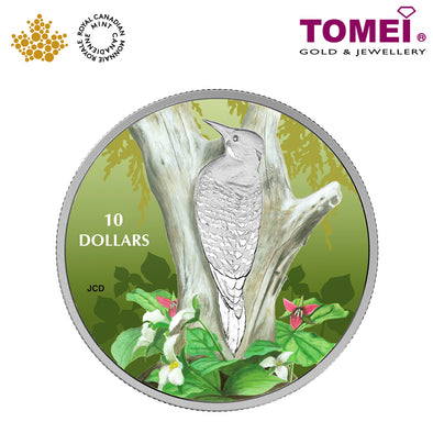 "Tomei x  Royal Canadian Mint Silver 9999 ""2017 Birds Among Nature's Colours: Northern Flicker"" Numismatic Coloured Coin 1/2oz. (156232)"