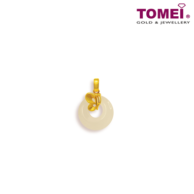 "[Online Exclusive] Tomei Yellow Gold 999 (24K) ""Goldrious Abundance"" Butterfly White Nephrite Pendant with Complimentary Rope Necklace (NEP-P-HD)"
