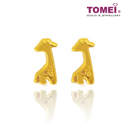 Tomei Yellow Gold 916 (22K) Giraffe Earrings (EE2818-1C)