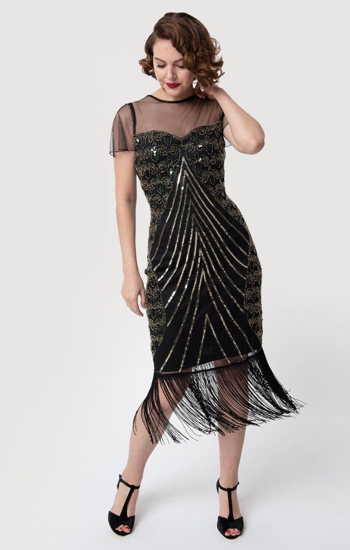 Gorgeous VIntage Inspired Black Cocktail Dress with Beads and Fringe-Rolande - Blanche's Place