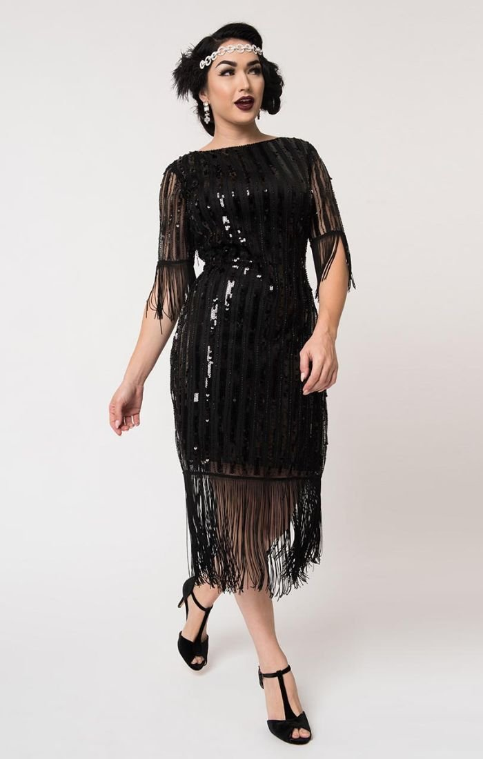 1920's Inspired Black Beaded and Sequin Flapper Cocktail Dress-Marcy - Blanche's Place