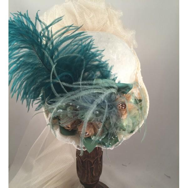 Victorian Small French Hat with French Green-165 - Blanche's Place