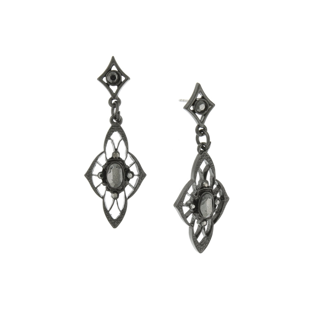 Downton Abbey Inspired Black Filigree Hematite Stone Drop Earrings-17519 - Blanche's Place